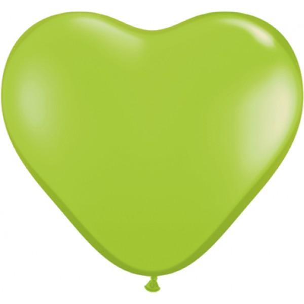 6 Heart Shape Lime Green Balloons ~ 100pcs Thailand OEM