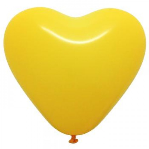 6 Heart Shape Yellow Balloons ~ 100pcs Thailand OEM