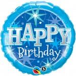 Qualatex 18 inch Happy Birthday Blue Sparkle