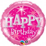 Qualatex 18 inch Happy Birthday Pink Sparkle