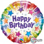 "Qualatex 18"" inch Happy Birthday Radiant Stars Holographic"
