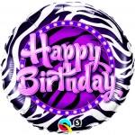 Qualatex 18 inch Happy Birthday Zebra Print