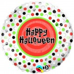 "Qualatex 18"" Inch - ""Happy Halloween Polka Dots"""