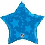 "Qualatex 20"" Inch - ""Blue On Blue Stars"" Foil Balloon"