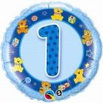 """Qualatex 18"""" Inch Age 1 Birthday Blue Teddies"""