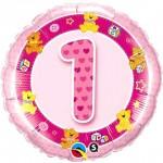 Qualatex 18 Inch Age 1 Birthday Pink Teddies