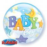 "Qualatex 22"" Inch Baby Boy Moon & Stars"