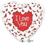 Qualatex 18 Inch I Love You Glitter Hearts Balloon
