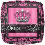 Anagram 17 inch Bride to Be Pink Damask