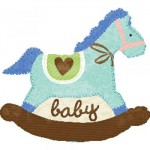 "Anagram 29""x26"" Baby Blue Rocking Horse"