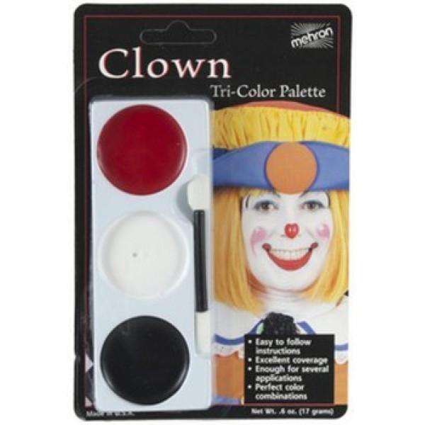 Mehron Tri-Color Palette - Clown Mehron Makeup