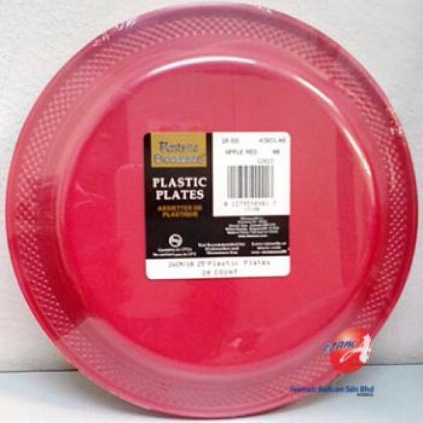 Amscan 26cm Apple Red Plastic Plate ~ 20pcs Amscan & Tableware - Amscan 26cm Apple Red Plastic Plate ~ 20pcs