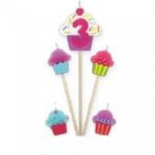 Amscan Cupcake Birthday Candle 3 Amscan