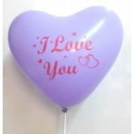 "Mytex 12"" Inch Heart Shape Lilac Balloons Printed I Love You ~ 10pcs"