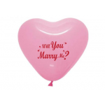 Mytex 12 Inch Heart Shape Will You Marry Me? Pink ~ 10pcs
