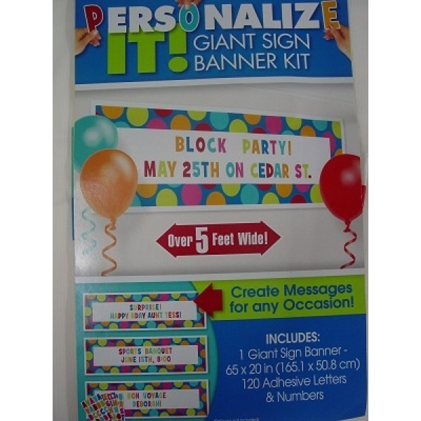 Cabana Dot Giant Sign Banner- Personalize It Amscan