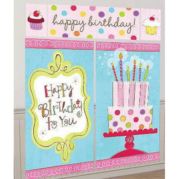 Happy Birthday to You Pink Candle Cake Scene Setter By Amscan Amscan