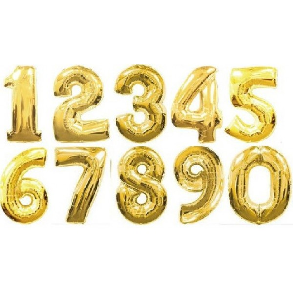 14 Inch Gold Numbers Foil Balloons 0-9 OEM-Others