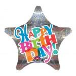 19 inch Holographic Star Happy Birthday