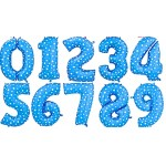 40 Inch Blue Stars Numbers Foil Balloons 0-9
