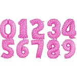40 Inch Pink Hearts Numbers Foil Balloons 0-9