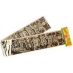 70 inch Happy Birthday Laser Foil Banner ~ Black & Silver