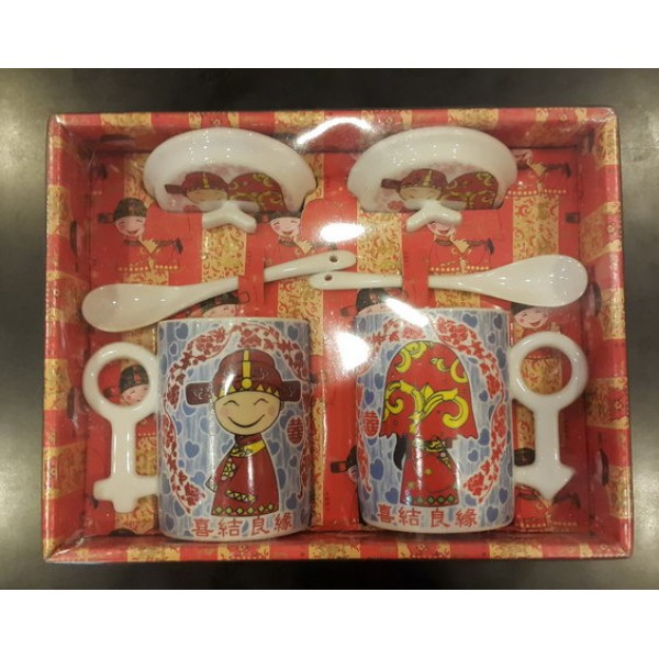 Cute Wedding cup and spoon with cover OEM-Others