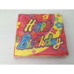 Happy Birthday Party flowers napkin serviette - 20pcs