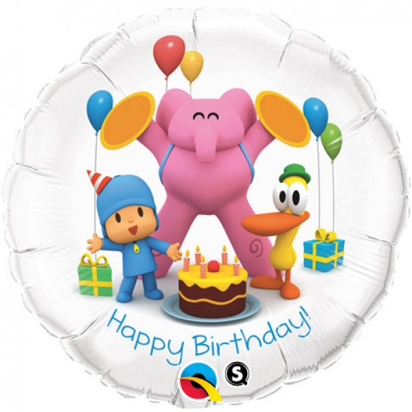 Pocoyo & Friends Happy Birthday Qualatex 18 inch Suprafoil Balloon Qualatex
