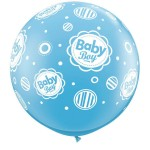 Qualatex 3ft Pale Blue Baby Boy Dots-A-Round