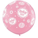 Qualatex 3ft Pink Baby Girl Dots-A-Round