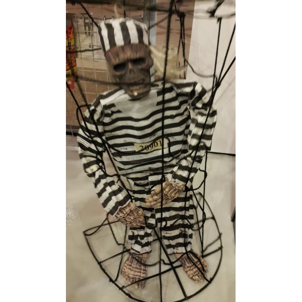 38 Inch Pirate Skeleton In A Cage Prop Decoration Oem Others