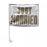 Amscan Just Married Car Flag White & Gold