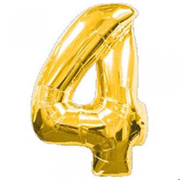 Anagram 40 inch Number 4 Gold Foil Balloon Anagram