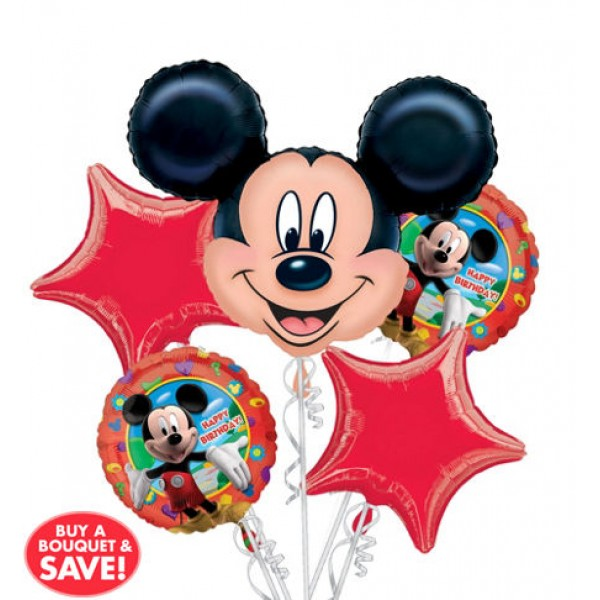 20 Happy Birthday Mickey Mouse Balloon Bouquet 5pc Disney
