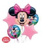 Happy Birthday Minnie Mouse Balloon Bouquet 5pc