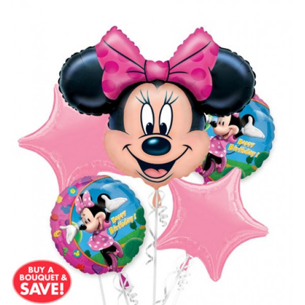 Happy Birthday Minnie Mouse Balloon Bouquet 5pc Disney
