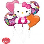 Happy Birthday Rainbow Hello Kitty Balloon Bouquet 5pc