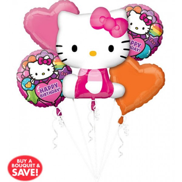 20 Happy Birthday Rainbow Hello Kitty Balloon Bouquet 5pc Anagram