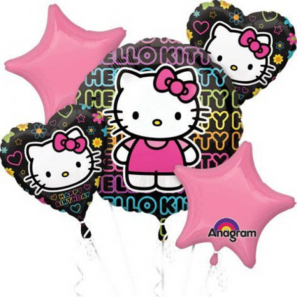 Happy Birthday Tween Hello Kitty Balloon Bouquet 5pc Anagram