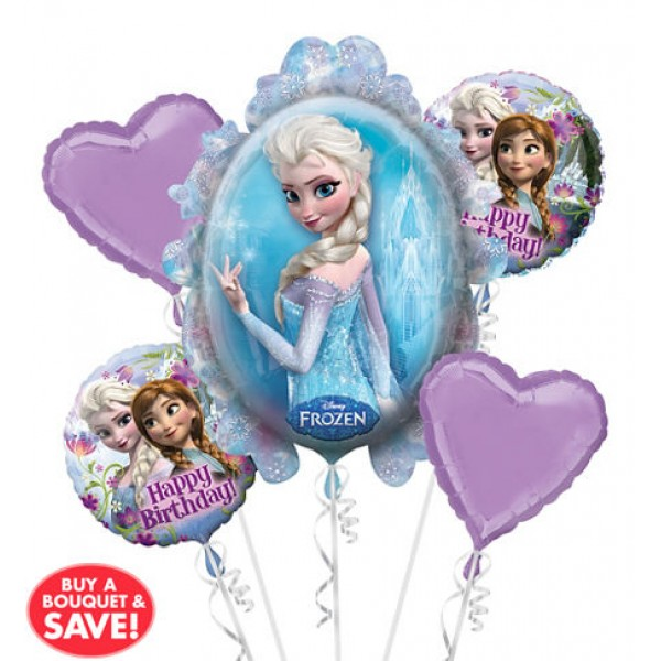 Heart Frozen Balloon Bouquet 5pc Anagram