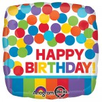 17 Inch Primary Rainbow Dots Birthday Balloon