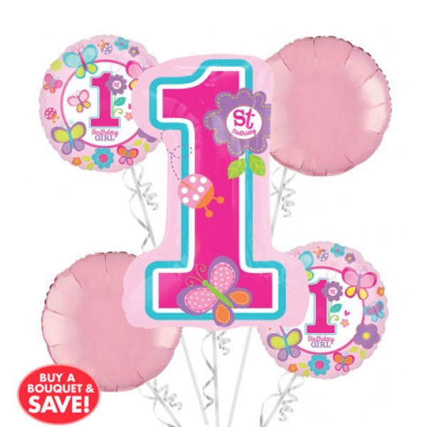 1st Birthday Balloon Bouquet 5pc - Sweet Girl Anagram