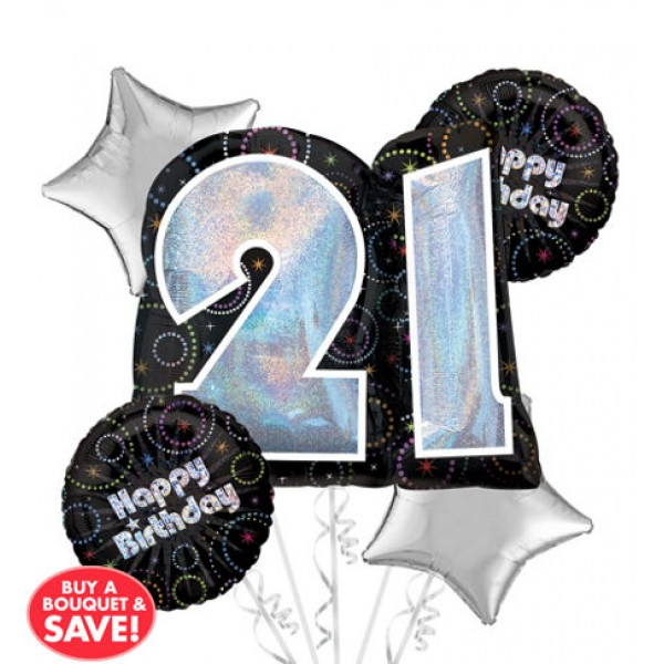 21st Birthday Balloon Bouquet 5pc - Night Time Party Anagram