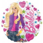 """Barbie Clear Heart & Stars Holographic 18"""" Inch Balloon"""