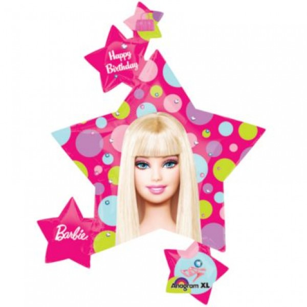 Barbie Star Shaped 35 Inch Balloon With Floating Stars Anagram