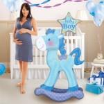 """Blue Baby Boy Rocking Horse Airwalker Balloon 23"""" x 50"""" inch"""