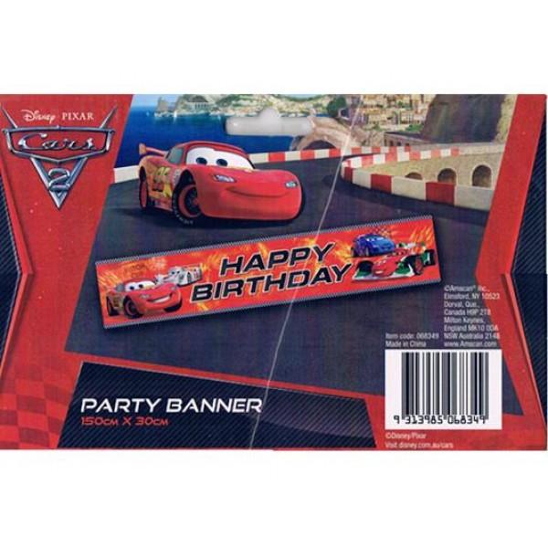 Disney Cars 2 Happy Birthday Party Banner 150cmx30cm Amscan