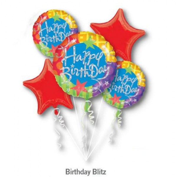 Happy Birthday Blitz Balloon Bouquet 5pc Anagram