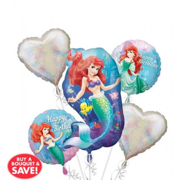 Happy Birthday Little Mermaid Balloon Bouquet 5pc Disney